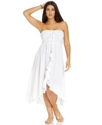 Raviya Plus Size Crochet High Low Cover Up Women's Swimsuit