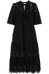 Mcq By Alexander Mcqueen Cotton Trimmed Tiered Lace Dress Black