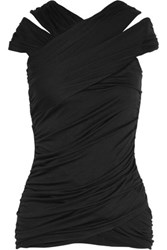Bailey 44 Tulle Paneled Ruched Jersey Top Black