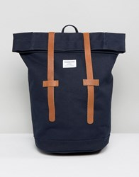 Sandqvist Sonja Rolltop Bakpack In Cotton Canvas With Leather Trims Blue