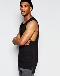Asos Longline Sleeveless T Shirt With Extreme Dropped Armhole And Drape Neck Black