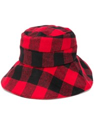 Woolrich Checked Bucket Hat Red