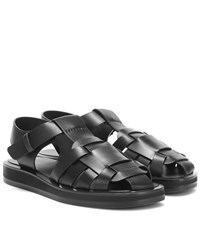The Row Gaia 2 Leather Sandals Black