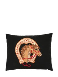 Loretta Caponi Horse Embroidered Wool Pillow