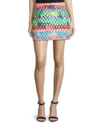 Milly Couture Neon Mini Skirt Multi Colors Women's