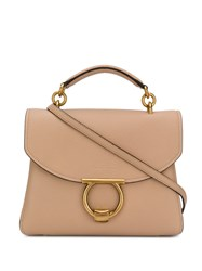 Salvatore Ferragamo Top Handle Tote Bag Neutrals