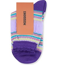 Missoni Multi Striped Ankle Socks Purple 003