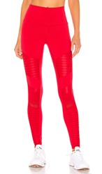 Alo Yoga High Waist Moto Legging In Red. Scarlet And Scarlet Glossy
