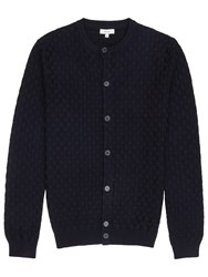 Reiss Thompson Textured Cardigan Navy