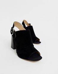 Aldo Elalyan Buckle Heeled Leather Sandals In Black