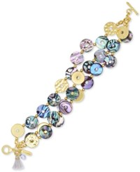 Lonna And Lilly Gold Tone Abalone Shell Triple Strand Bracelet Multi