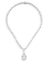 Cz By Kenneth Jay Lane Faceted Cushion Pendant Necklace Silver