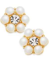 Charter Club Gold Tone Crystal And Imitation Pearl Flower Stud Earrings Created For Macy's