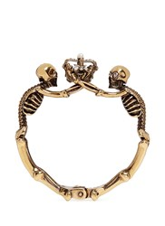 Alexander Mcqueen Skeleton Faux Pearl Crown Cuff Metallic
