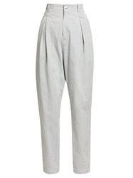 Isabel Marant Handy High Rise Cotton Trousers Light Grey