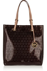 Michael Michael Kors Embossed Patent Pvc Tote Brown
