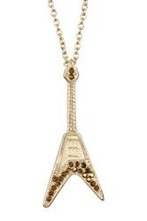 Zadig And Voltaire Guitar Charm Long Necklace Metallic