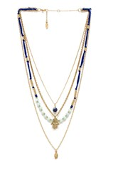 Ettika Hamsa Layered Necklace Blue