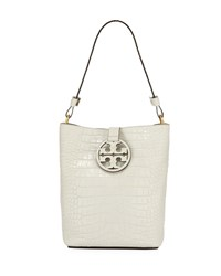 Tory Burch Miller Embossed Leather Hobo Bag New Ivory