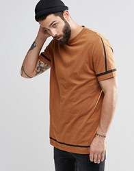 Asos Longline T Shirt With Black Hem And Sleeve Stripe With Wide Neck Trim Auburn Brown