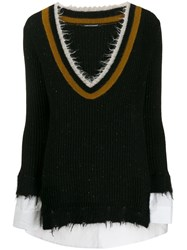 Luisa Cerano Frayed V Neck Jumper Black