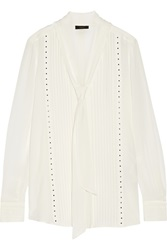 Belstaff Walton Studded Silk Georgette Blouse White