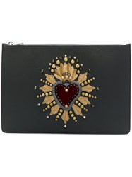 Dolce And Gabbana Document Holder With Heart Patch Clutch Black