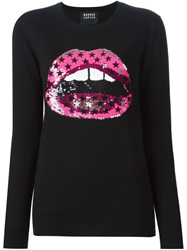 Markus Lupfer Sequined Lips Sweater Black