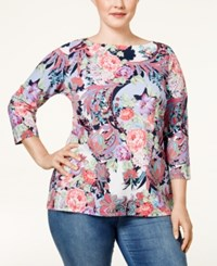 Charter Club Plus Size Floral Print Striped Top Only At Macy's Midnight Starlight Combo