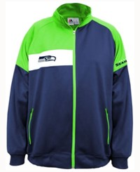 Majestic Men's Seattle Seahawks Court Track Jacket Navy Lime White
