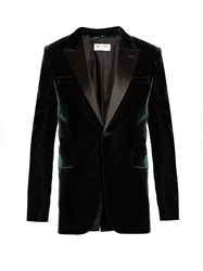 Saint Laurent Peak Lapel Single Breasted Velvet Jacket Green