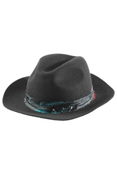 Zadig And Voltaire Felted Wool Fedora With Feathers Black
