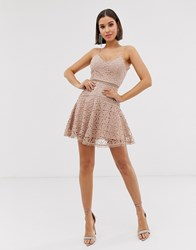 Love Triangle Cami Skater Dress In Floral Crochet Lace In Latte Beige