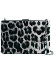 Stella Mccartney Leopard Pattern Box Clutch Black