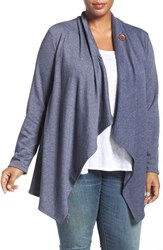 Bobeau Plus Size Women's One Button Fleece Cardigan Heather Denim