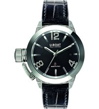 U Boat 6950 Classico Diamond And Alligator Leather Watch Black