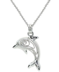 Macy's Openwork Dolphin Pendant Necklace In Sterling Silver