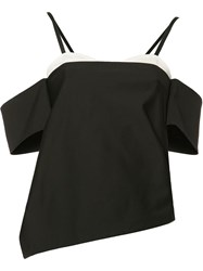 Tibi Cut Off Shoulders Asymmetric Blouse Black
