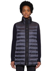 Moncler Wool Knit Cardigan And Nylon Down Jacket Navy