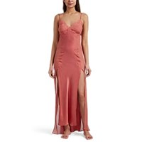 Raven And Sparrow By Stephanie Seymour Silk Chiffon Charmeuse Nightgown Rose