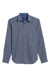 Bugatchi Men's Trim Fit Geo Print Sport Shirt Plum