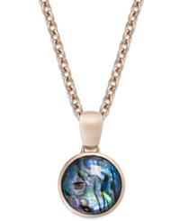Bronzarte Abalone Doublet 12 Ct. T.W. Pendant Necklace In 18K Rose Gold Over Bronze