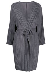 Issey Miyake Pleats Please Belted Pleated Coat Grey