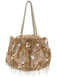 Jamin Puech Bead Embellished Tote Bag Nude And Neutrals