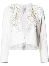 Carolina Herrera Floral Embellished Cropped Jacket White