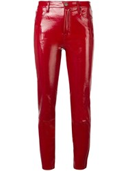 J Brand Cropped Leather Trousers Red