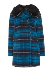 Therapy Faux Fur Collar Brushed Wool Check Coat Blue