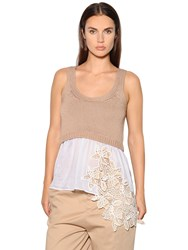N 21 Knit And Voile Top W Macrame Lace Inserts