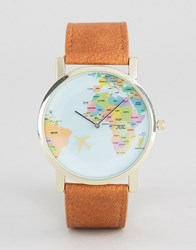 Asos Watch With Map Print In Tan Beige