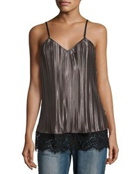 Glamorous Pleated Satin Lace Trim Camisole Top Charcoal